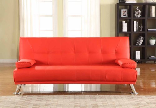 Large-Stunning-Italian-Designer-Faux-Leather-3-Seater-Sofa-Bed-Futon-in-RED