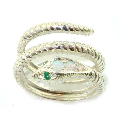Fabulous Solid White Gold Natural Fiery Opal & Emerald Detailed Snake Ring - Size 9.75 - Finger Sizes 5 to 12 Available
