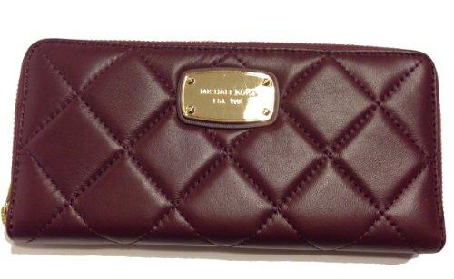 Michael Kors Hamilton Quilt Za Continental Leather Wallet Bordeaux