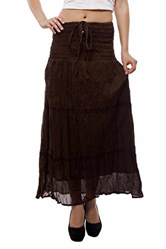 Indi Bargain Plain Cotton Laced 2 In 1 Skirt Cum Dress