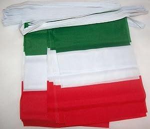 AZ FLAG - GUIRLANDE 6 mètres 20 DRAPEAUX ITALIE 21x15 cm - DRAPEAU ITALIEN 15 x 21 cm - Neuf