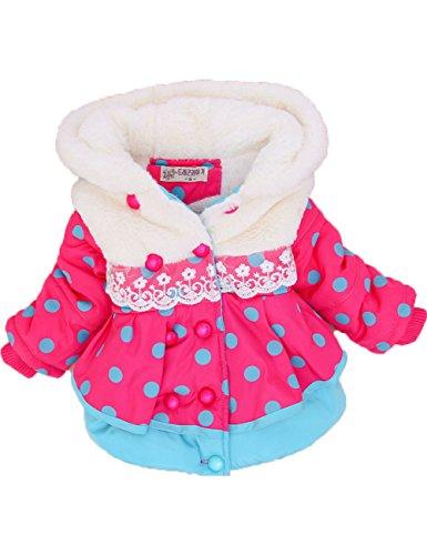 Baby Girls Polka Dot Velvet Hooded Jacket Coat Clothes Snowsuit Outwear (6(2 Years), Blue)