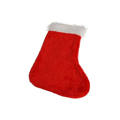 One Red & White Plush Traditional Christmas Stocking