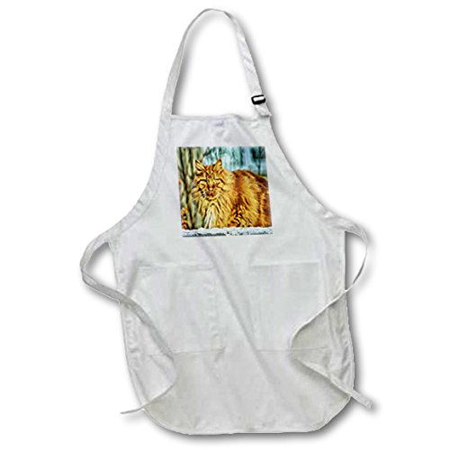 Florene - Cat Art - Print of Orange Tabby In Snow Painting - Medium Length Apron with Pouch Pockets 22w x 24l (apr_203834_2)