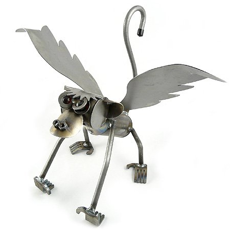 Flying Monkey - Recycled Metal Garden Sculpture
