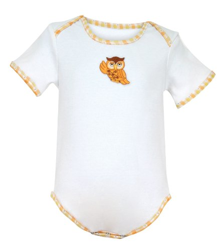 Stephan Baby All-in-One Diaper Cover with Gingham Trim and Embroidered Owl, White/Orange/Yellow, 12 Months