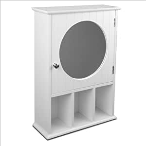 relaxdays mirror cabinet with round mirror. Black Bedroom Furniture Sets. Home Design Ideas