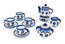 Polish Pottery Aztec Flower Miniature Tea Set