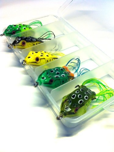 5 Hollow Body Topwater Frogs Fishing Lures Baits with Free Tackle Box 2 1/5 Inch 3/8 Oz FG43K