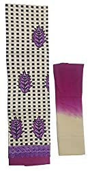 Sanvan Beige Purple Cotton Printed and Embroidered Salwar Suit Fabric with Lace Border_SV194SF