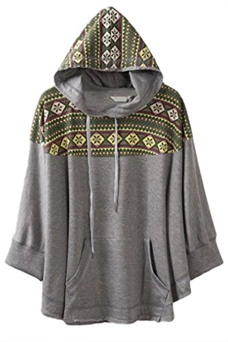 Pink Wind Womens Oversize Batwing Sleeve Cape Snowflake Blouse Tops Hoodies