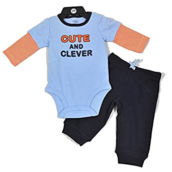 NEW Carters Boys 2pc CUTE & CLEVER L/S Blue Bodysuit Romper Navy Pants 6M