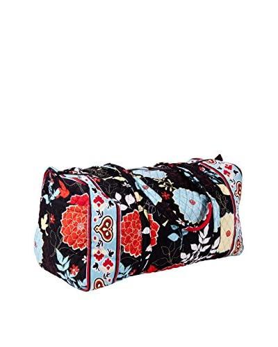 Home Essentials and Beyond Elizabeth Large Duffel Bag, Black/Orange