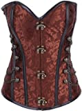 Charmian® Womens Brocade Steampunk Gothic Punk Steel Boned Corset with Chain Stud