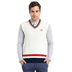 Proline Men's Synthetic Sweater (8907007353837_PV11275_OW_L_Off-White)