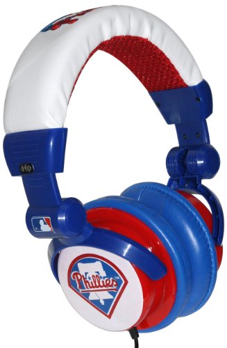 Ihip Philadelphia Phillies Mlb10279Phl Dj Style Headphone With Splitter And Volume Control (Blue/Red/White)