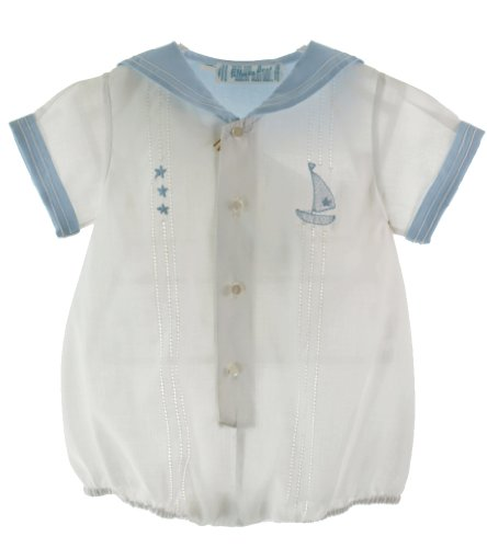 Feltman Brothers Baby Boys White Sailor Bubble Outfit With Blue Collar 6M front-839291