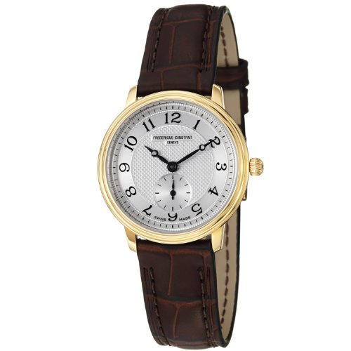 Frederique Constant Women's FC-235AS1S5 Slim Line Dark Brown Leather Strap Watch