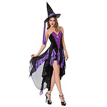 Niebc Vintage Adults' Witch Sorceress Costume Cosplay Dress
