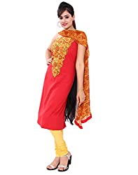 Chhipa Women Embroidery Work Red Unstitchesd Suit Fabric
