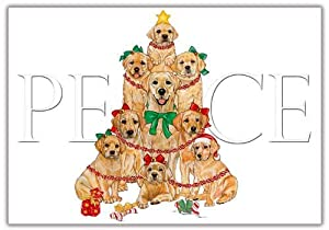 Yellow Labrador Christmas Cards Peace : 10 Holiday Cards with Red Envelopes - ADORABLE!