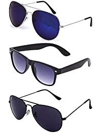 Combo Set Of 3 UV Protect Aviator And Wayfarer Sunglasses For Men/Women (UX-H6QY-DIGL BlackBlack-MattBlack-Silverbluemercury)