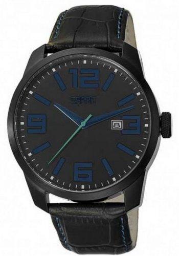 Esprit  Animate Blue - Reloj de cuarzo para hombre, con correa de cuero, color negro