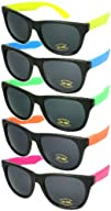 5 Pack Neon Rubber 808242s Wayfarer Party Sunglasses w100