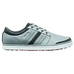 adidas Men\'s Adicross Gripmore Golf Shoe,Aluminum/Running White/Light Scarlet ,10 M US