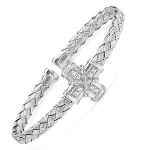 Italian Sterling Silver, Cubic Zirconia Flex Cuff Bracelet, 4.5mm Thick, 6