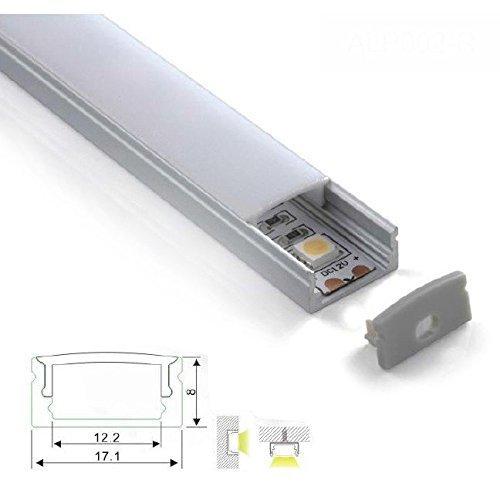 KingLed - Profilo in Alluminio da 1mt Modello CC-32 per Strip LED con Cover Opaca in Plexiglass, Tappi e Ganci per il Montaggio cod. 1232