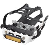 Avenir Resin/Alloy Pedals with Toe Clips and Straps, Black/Silver, 9/16 Inch Axle