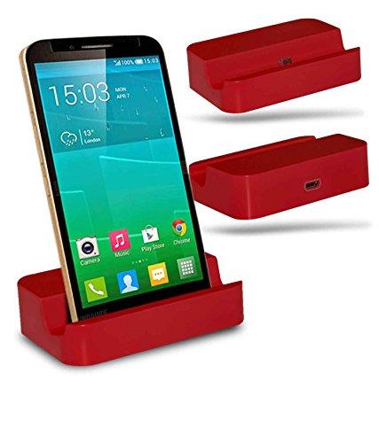 Alcatel Flash Plus + Station d'accueil de bureau avec chargeur Micro USB support de chargement - Red - By Gadget Giant®