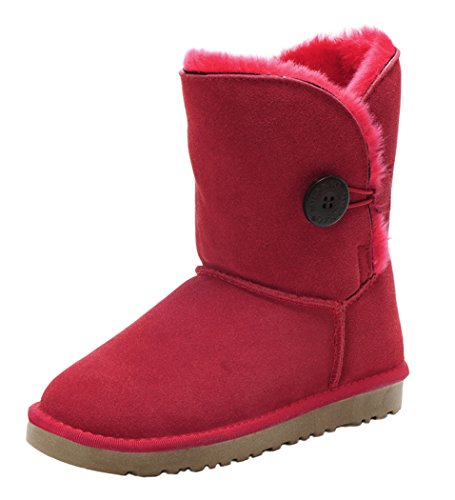 MILANAO Kids Cony Hair One Button Shearling Snow Boots