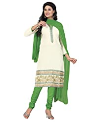 Surat Tex Cream Color Casual Wear Embroidered Cotton Semi-Stitched Salwar Suit-D896DL12RU