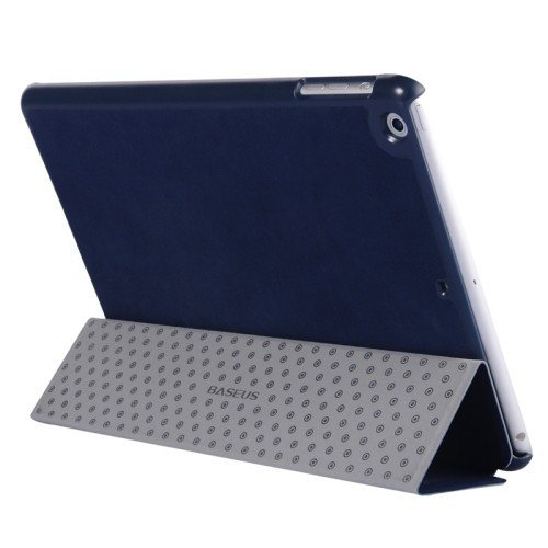 Defender Baseus Grace Smart Slim Luxury Leather Flip Tri Fold Stand Cover Case with Wakeup Sleep For iPad Air 1 (iPad 5) - Blue