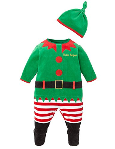 [DDSOL Baby Christmas Halloween Romper Hat Cap Set Jumpsuit overall Outfits 2pcs] (0-3 Months Baby Halloween Costumes Uk)