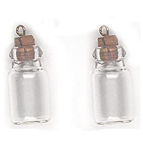 MINIATURE GLASS BOTTLE with STOPPER and LOOPS - spice apothecary