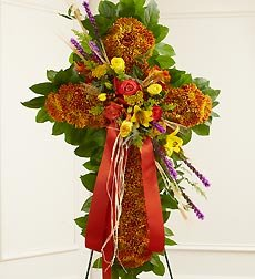 Funeral Flowers by 1800Flowers.com - Mixed Flower Standing Cross in Fall Colors