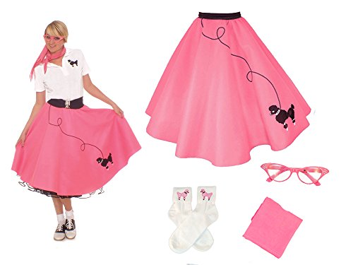 Hip Hop 50s Shop Adult 4 Piece Poodle Skirt Costume Set Hot Pink XSmall/Small (Grease Inspired Dress compare prices)