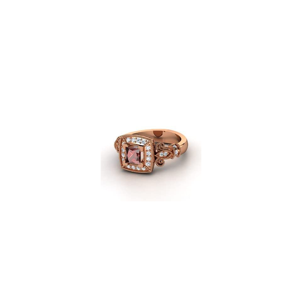 Ring, Princess Red Garnet 14K Rose Gold Ring with Diamond Jewelry