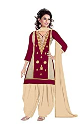 Queen Creation Women's Beautiful Embroidered Maroon & Beige Dress Material