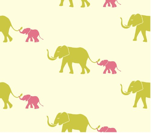 Tempaper Tots Designs TU 024 Tusk Self-Adhesive Temporary Wallpaper, Flamingo Pink