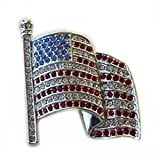 24k White Gold Plated Swarovski Crystal Patriotic American USA Flag Pin Brooc...
