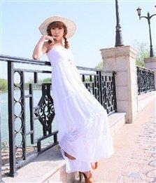 ruffle-chiffon-spaghetti-straps-long-white-dress