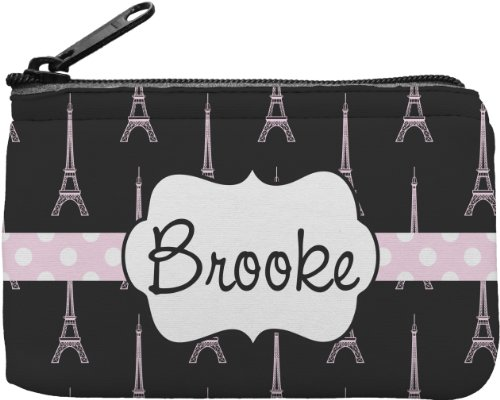 Black Eiffel Tower Personalized Rectangular Coin Purse front-649830