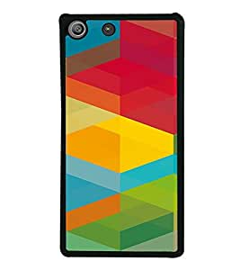 PrintVisa SONM5-Colorful Cubical Pattern Metal Back Cover for Sony Xperia M5 Dual E5633 E5643 E5663, Sony Xperia M5 E5603 E5606 E5653