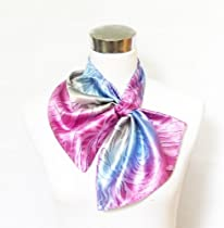 Silk-Feel Double Ply Magic Fashion Neck Scarf - Multicolored Purple/Blue Abstract Design ((40+ tying styles)