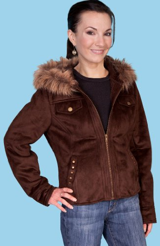 Scully Womens Alena Faux Fur Zippered Hood Jacket Espresso Lg front-569491