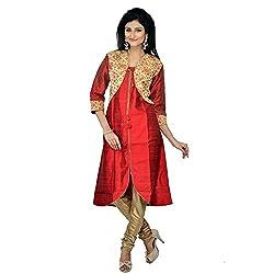 Darbari Women's Silk Kameez (OL-327_Red_XXl)